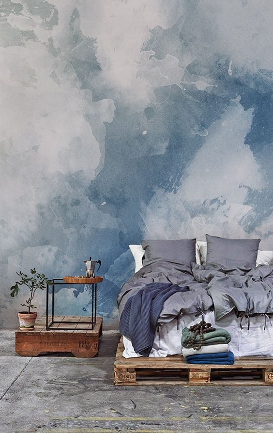 Blue White Grunge Paint Watercolor Mural Aquarell Tapete