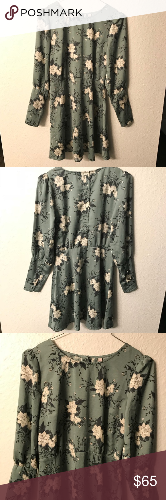 84ced6acffe1 Free People Long Sleeve Green Floral Dress (NWT) Free People Long Sleeve  Floral mini Dress Size 0 Color Green Cream Long sleeve with buttons and  buttons ...