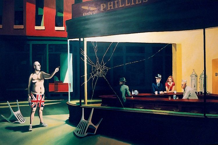 Nighthawks 1942 Canvas Print By Edward Hopper Banksy