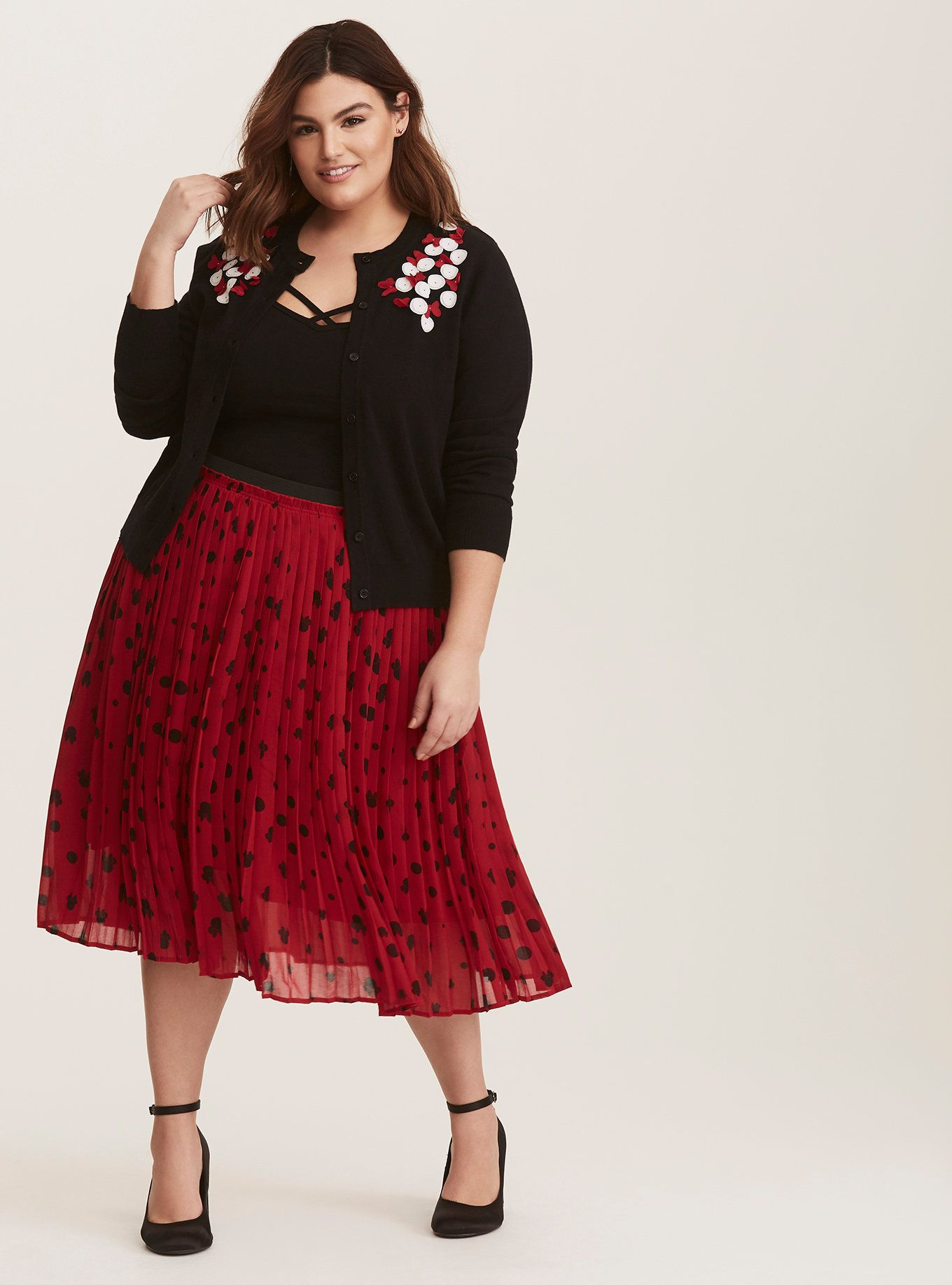 26d840c450 From our Disney Minnie Mouse collection, this chic red pleated chiffon skirt  comes in an allover Minnie Mouse pattern and an elastic waistband for the  ...