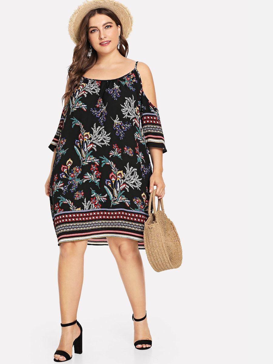 Tropisches Kleid mit kalter Schulter   Tropisches kleid ...