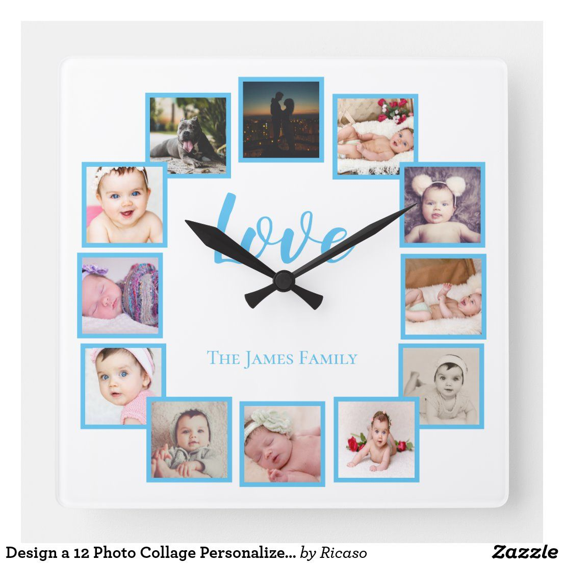 Design A 12 Photo Collage Personalized Blue Square Wall Clock Zazzle Com In 2020 12 Photo Collage Photo Collage Square Wall Clock