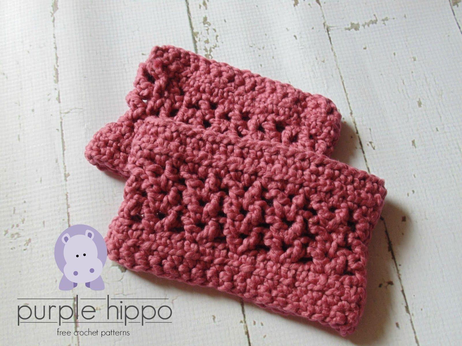 Free crochet pattern, Boot Cuffs, Purple Hippo | Crochet | Pinterest
