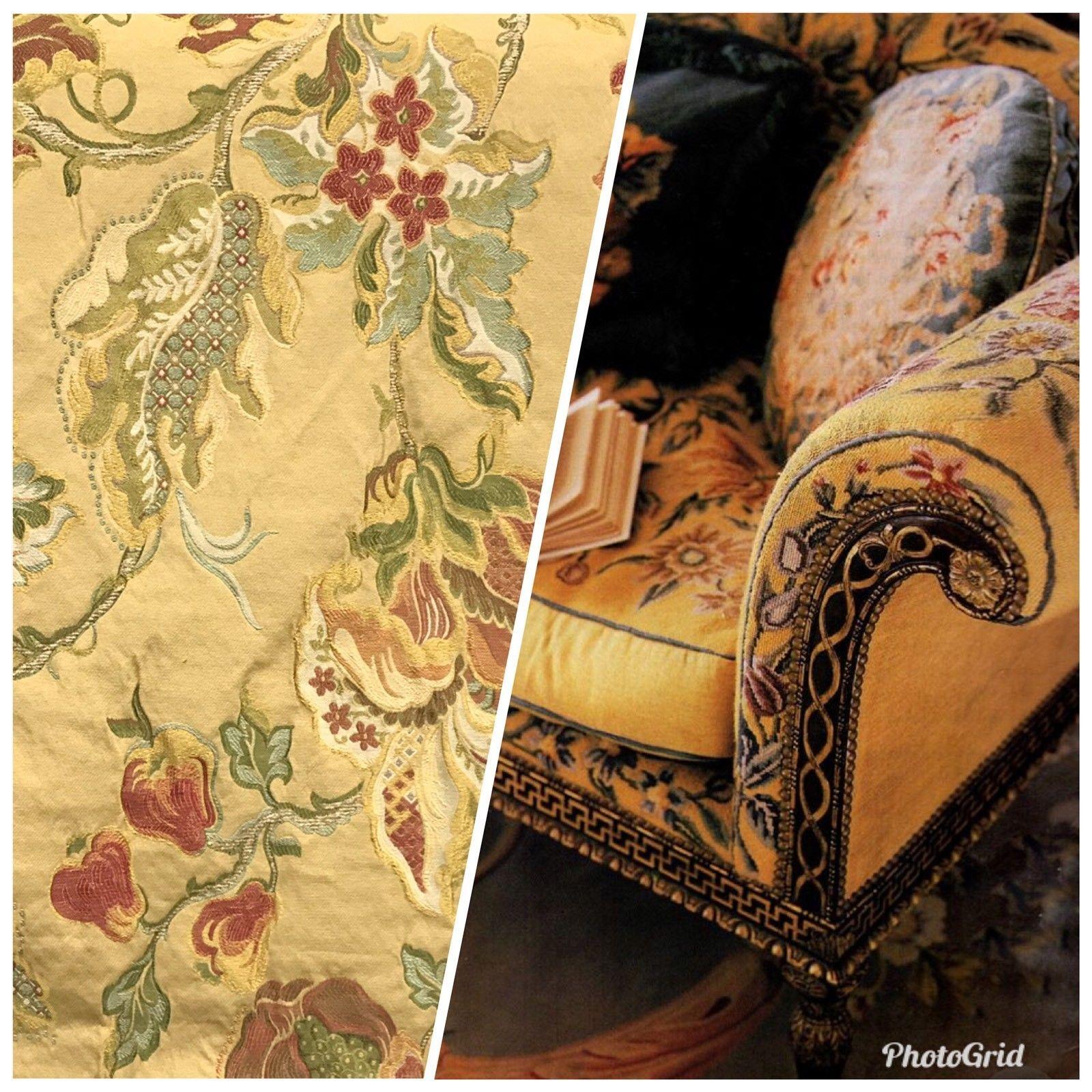 NEW Designer Jacquard Brocade Damask Upholstery Fabric Mustard Yellow
