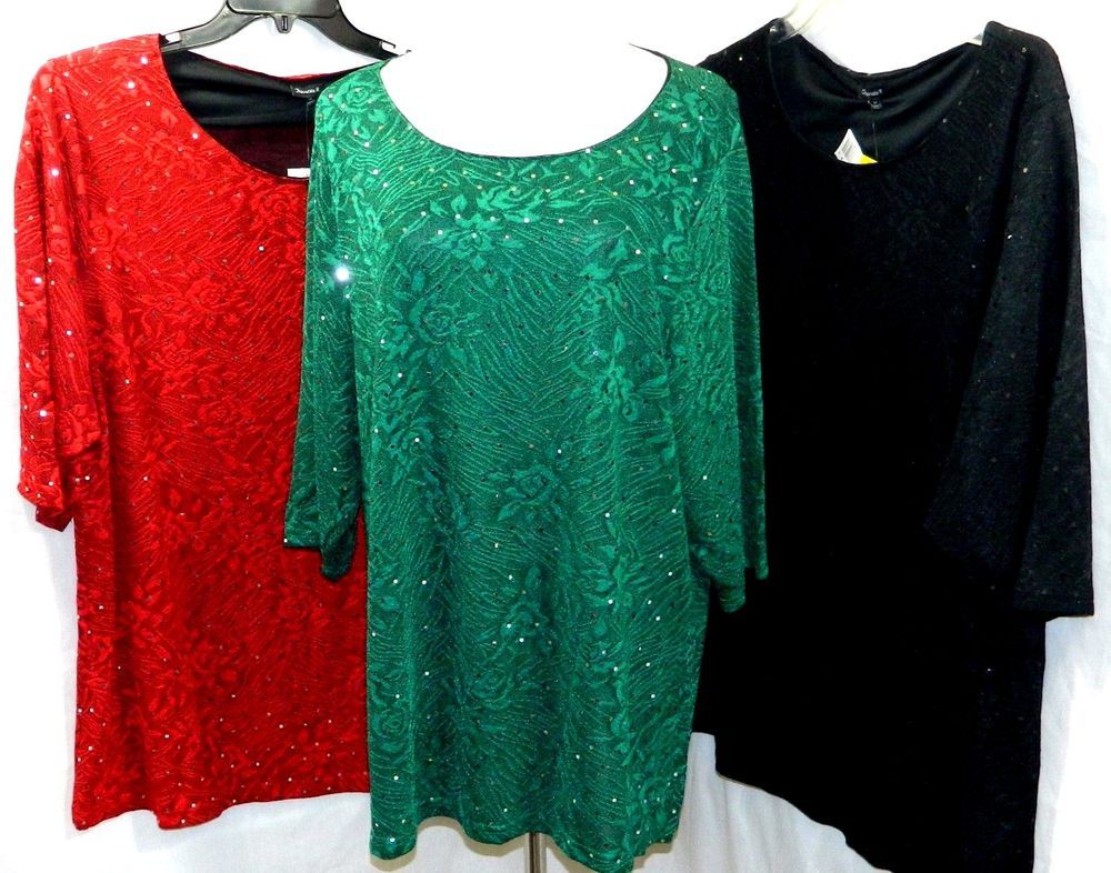 162195840fc CHANCES R WOMEN PLUS SIZE 1X 2X 3X ELEGANT SEQUIN TUNIC TOP BLOUSE SHIRT  MULTI #CHANCESR #Tunic #Casual