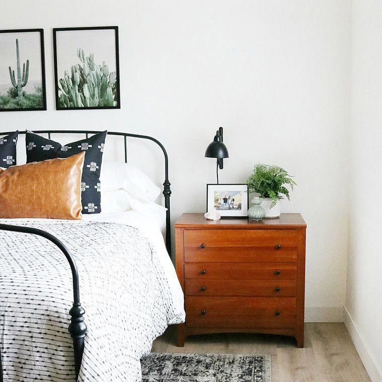 Minimal Modern Boho Bedroom With Black Metal Bed Frame And Cacti