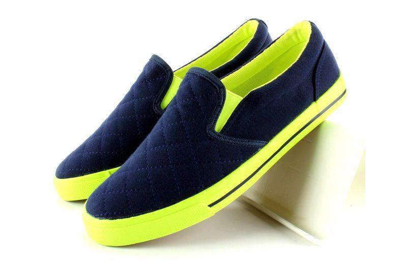 Tenisowki Damskie Obuwiedamskie Granatowe Bawelniane Slip On Pikowane H537 Granat Obuwie Damskie Sneakers Slip On Sneaker Shoes