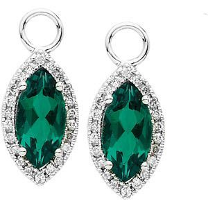 99f036351 14K White Gold Diamond and Chatham Created Emerald Dangles | www ...