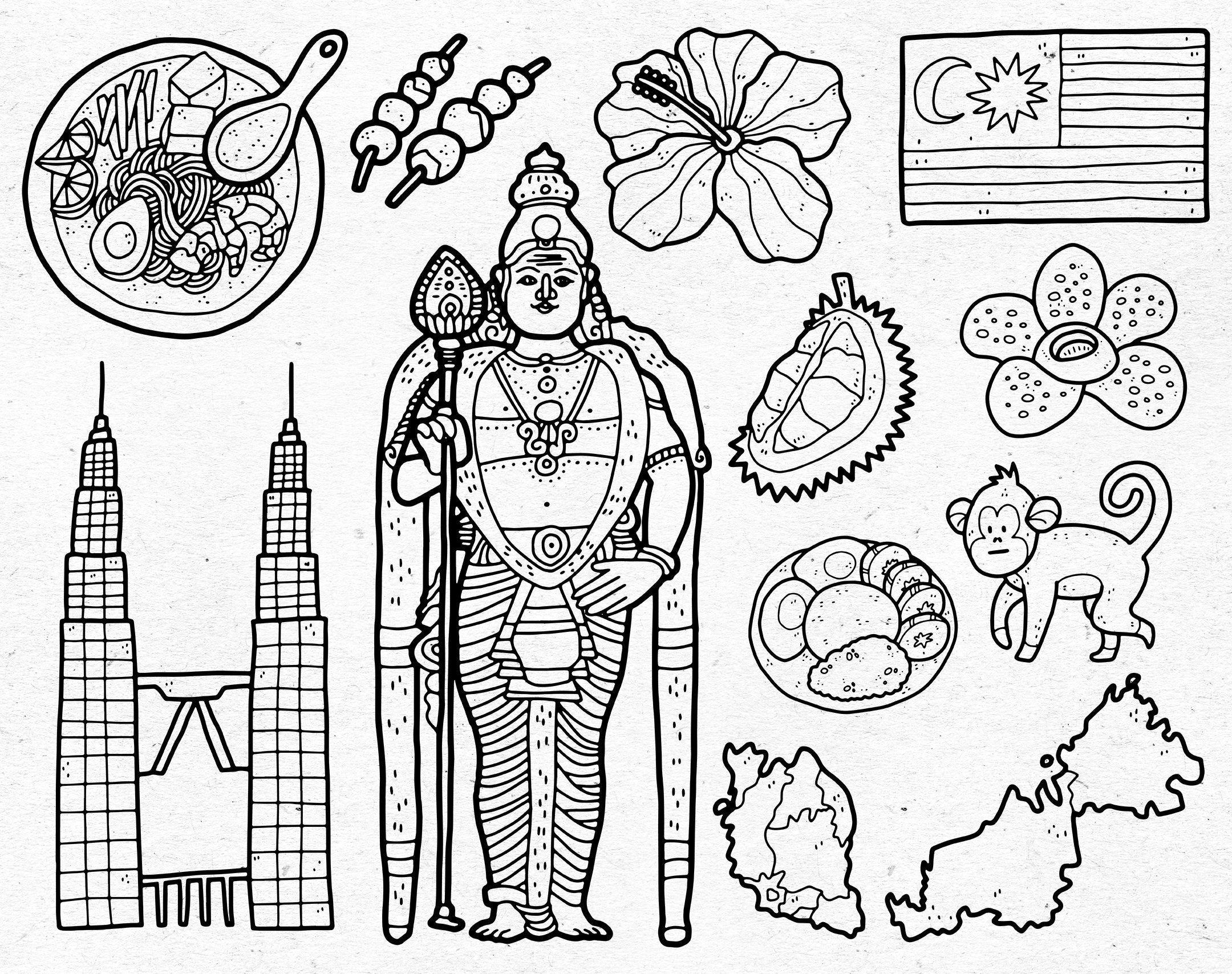 Malaysia Digital Clip Art Graphics Svg Png Eps Kuala Etsy In 2020 Digital Clip Art Graphics Digital Clip Art Clip Art