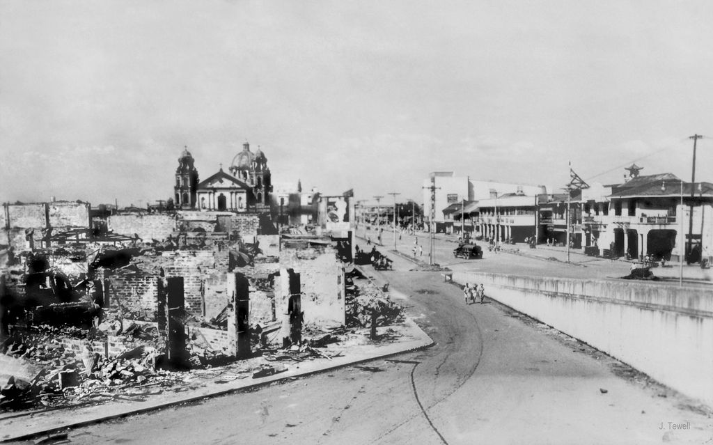 1945 Looking North Down Quezon Blvd Towards Quiapo Church The Good Place Manila Philippines Philippines