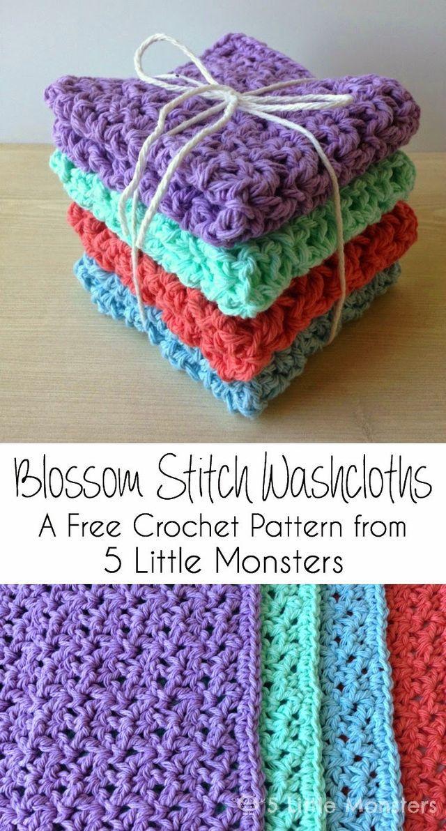 Blossom Stitch Crochet Washcloths (5 Little Monsters)   Ganchillo ...