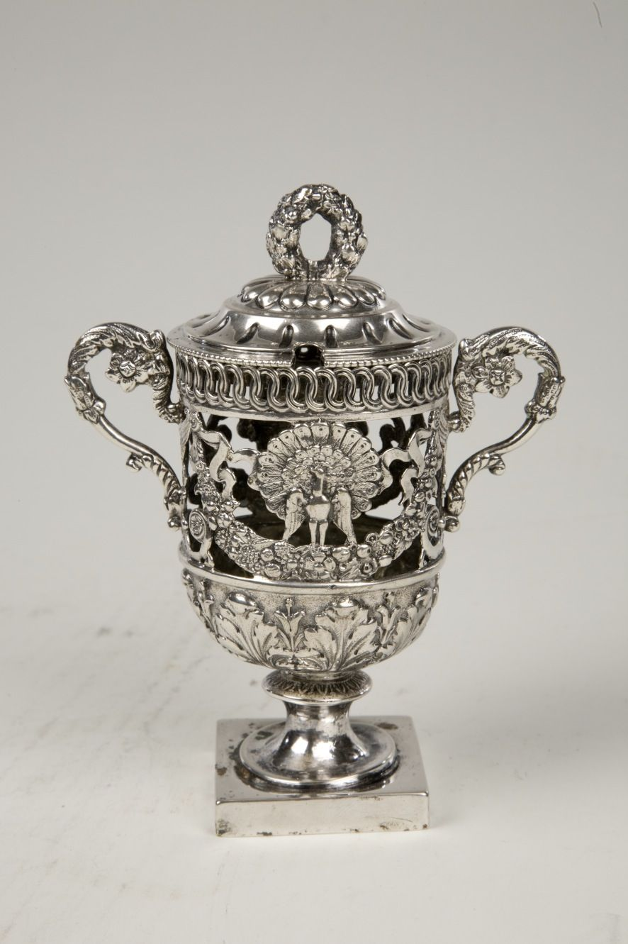 Small antique Continental silver mustard pot