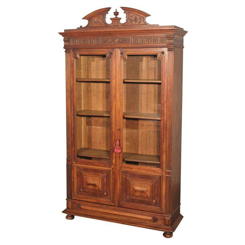 Antique eastlake victorian walnut bookcase display