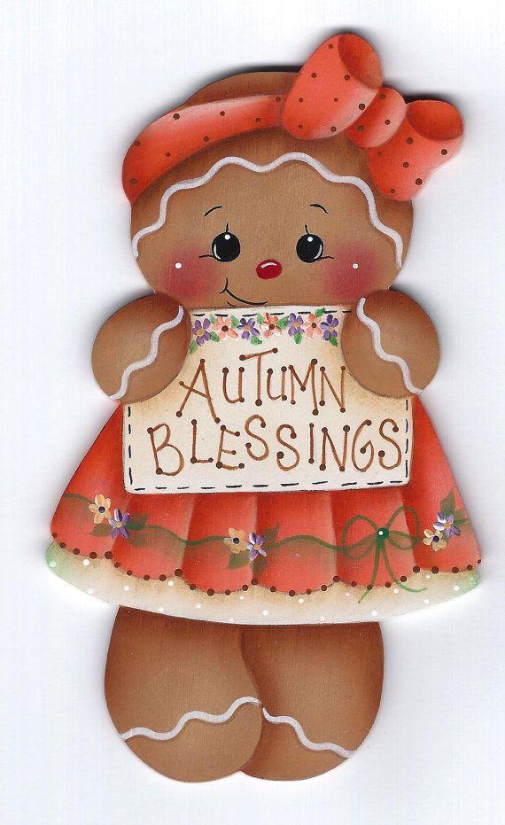 Autumn Blessings Gingerbread Painting E-Pattern   Árboles de navidad ...