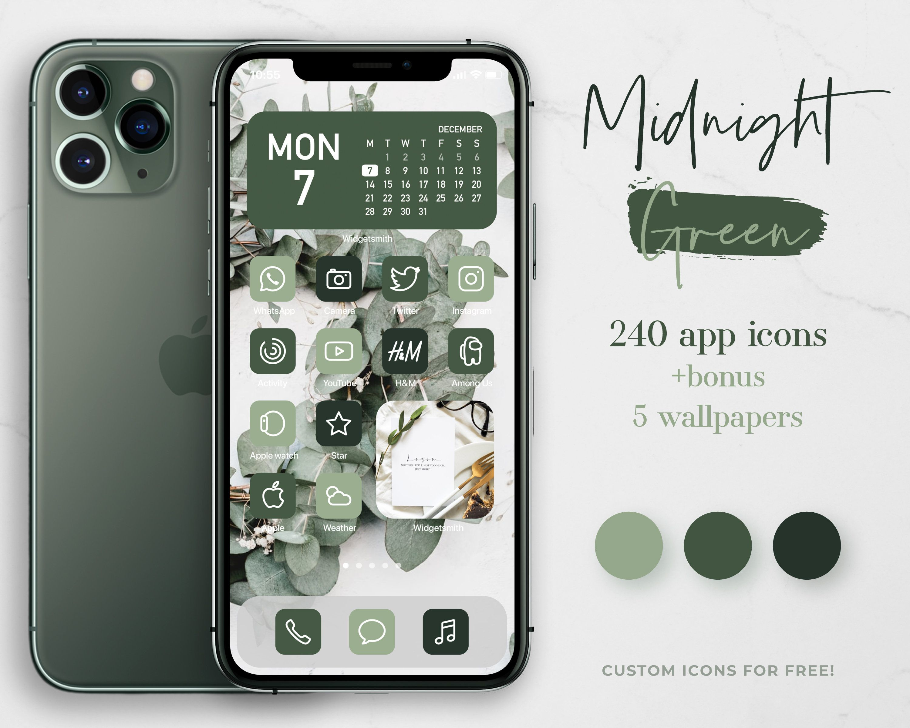 Midnight Green App Icons For Ios 14 80 App Covers In 3 Green Etsy App Icon App Covers Phone Themes Home screen midnight green iphone 11