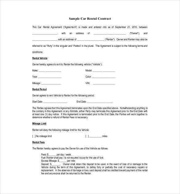 10+ Rental Agreement Templates Printable Word  PDF Formats