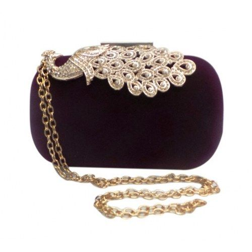 Bhamini Velvet box clutch with peacock brooch (Purple)