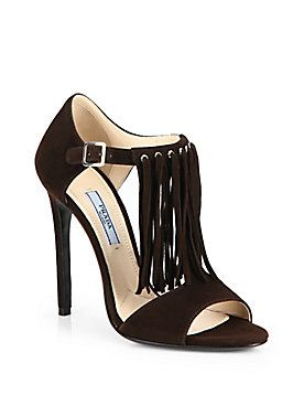 Prada - Suede Fringe Sandals
