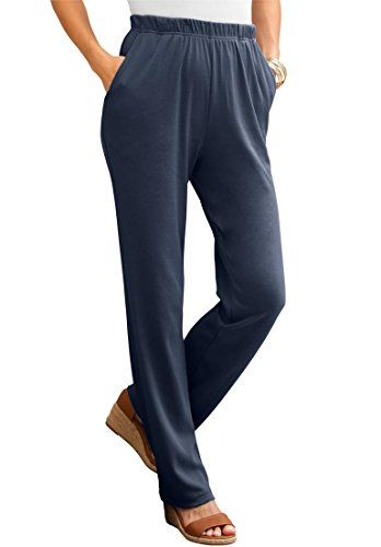 d435b489f9ae7 Roamans Womens Plus Size Petite Classic Soft Knit Pants Navy4X     More  info could be found at the image url.