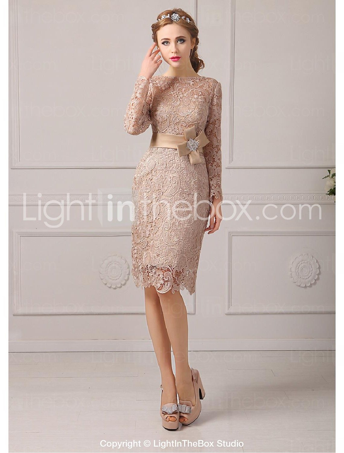 Sheath column jewel neck knee length lace mother of the bride