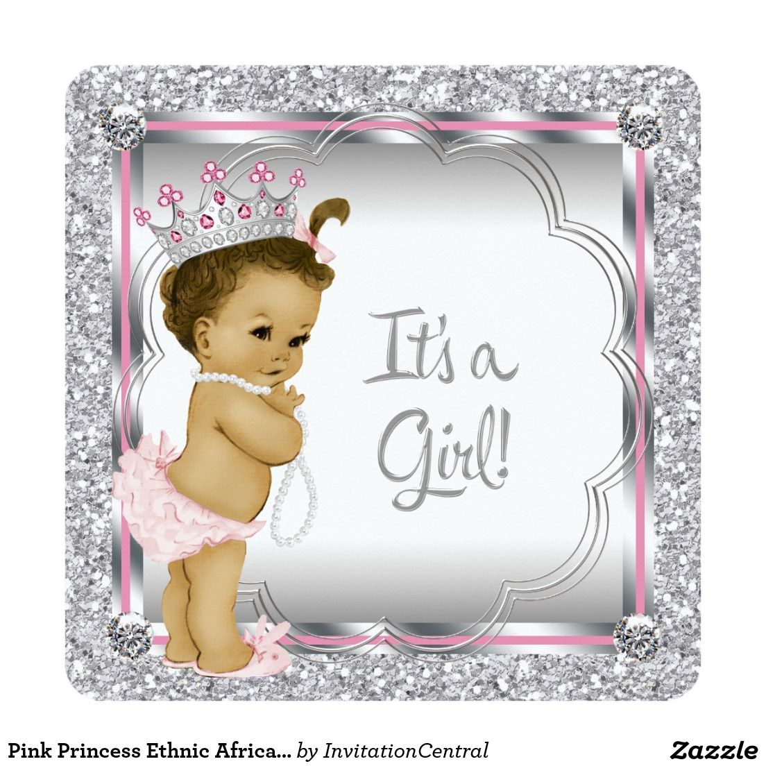 Pink Princess Ethnic African American Baby Shower Invitation ...