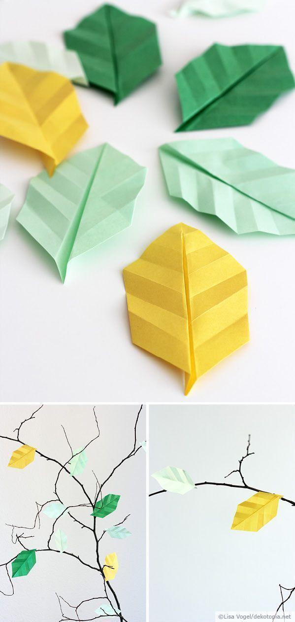 Origami-Blätter, Origami basteln, Blätter DIY, Papier DIY, Papier DIY Deko, Papier basteln, Basteln Kinder, Basteln mit Papier, DIY Papier Kinder, papier diy tutorials, paper craft, papier diy