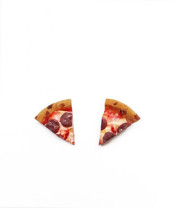 Pepperoni Pizza Slice Stud Earrings  polymer clay by JumpingJellys