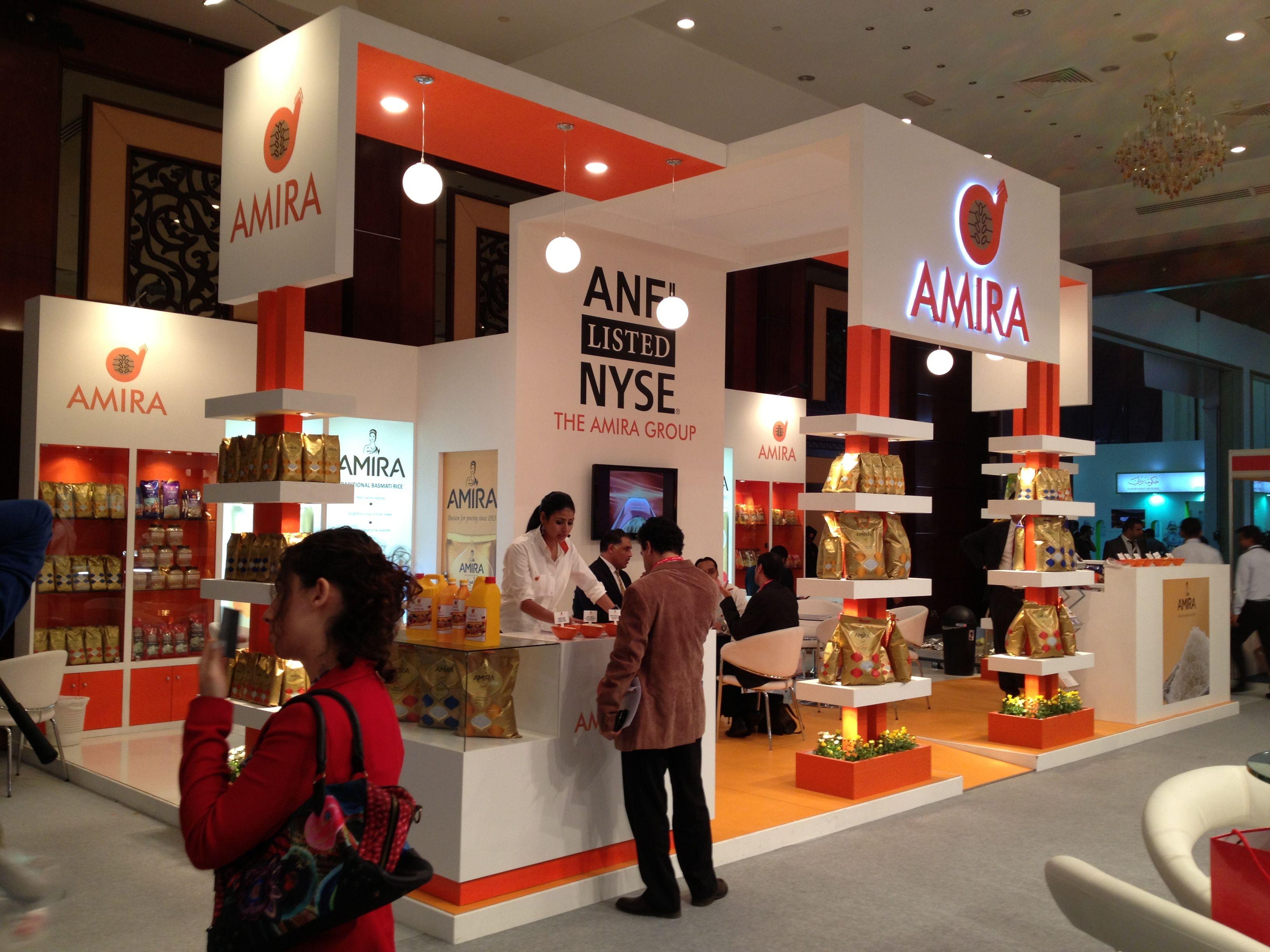 Custom Exhibition Stand Qatar : Custom booth for amira foods gulf food dubai to know