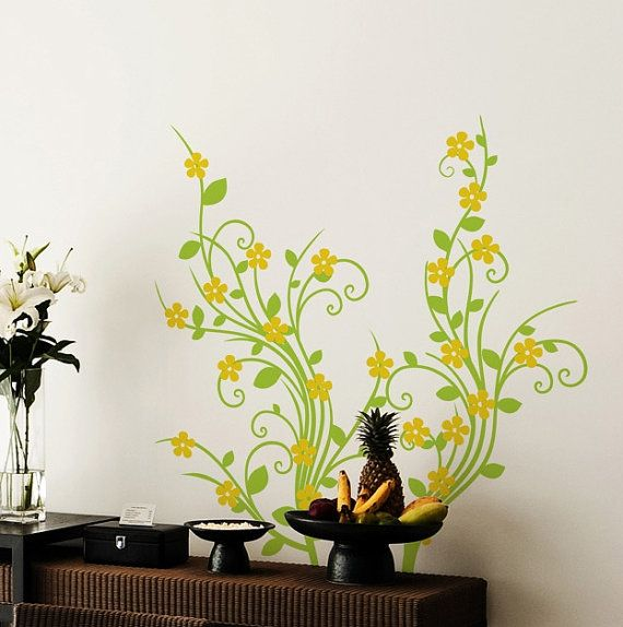 Decorative Floral Vine Pattern DIY Modern Wall Art Vinyl Decals ...