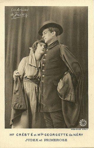 René Cresté & Georgette de Néry in La nouvelle mission de Judex. French postcard. Production Gaumont. Coquemer Gravures. Still for the sequel La nouvelle mission de Judex (1917-18).