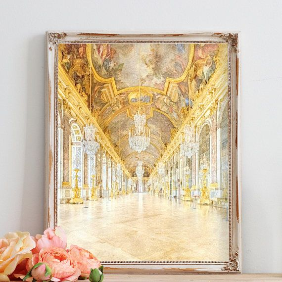 Versailles Hall of Mirrors Watercolor Print, Paris Wall Art, Gold ...