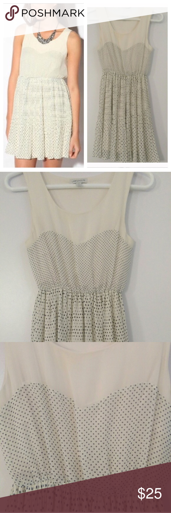 Urban Outfitters Lark and Wolff dress Lovely cream dress with black dots from Urban Outfitters by the brand Lark and Wolff. Dots make a cute sweetheart neckline. Flowy pleated skirt bottom. 100% polyester. Great condition! Urban Outfitters Dresses