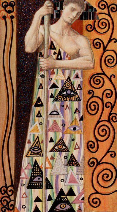 Tarot de Klimt par A. Atanassov le valet de batons