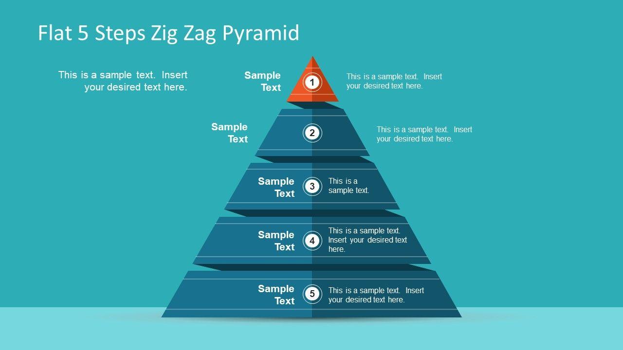 Flat 5 steps zig zag pyramid flat 5 steps zig zag pyramid slidemodel pyramid diagram template 5 segment ccuart Images