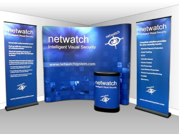 Corporate large display stand, pop up banners and podium used at various press launches that promotes the Netwatch brand. www.akgraphics.ie