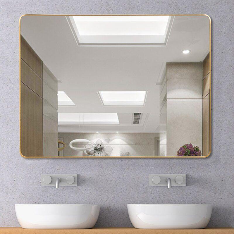 Bathroom Vanity Mirror, Chaz Modern Contemporary Beveled Bathroom Vanity Mirror