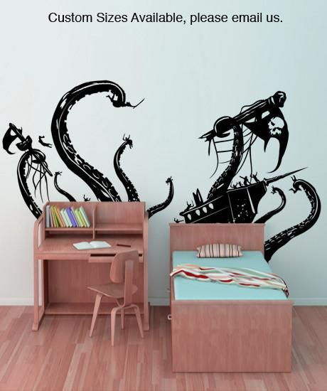 Pirate Ships attacked by Kracken Wall Decal #GFoster166 | Pirate ...