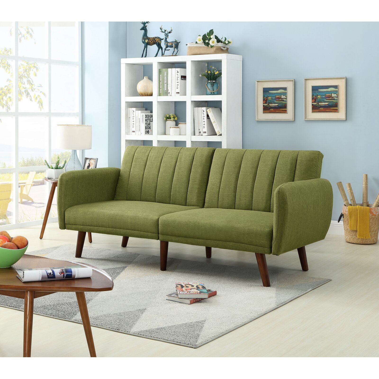 Fynn 42 Round Arm Upholstered Sofa Bed Sofa Bed Green Furniture