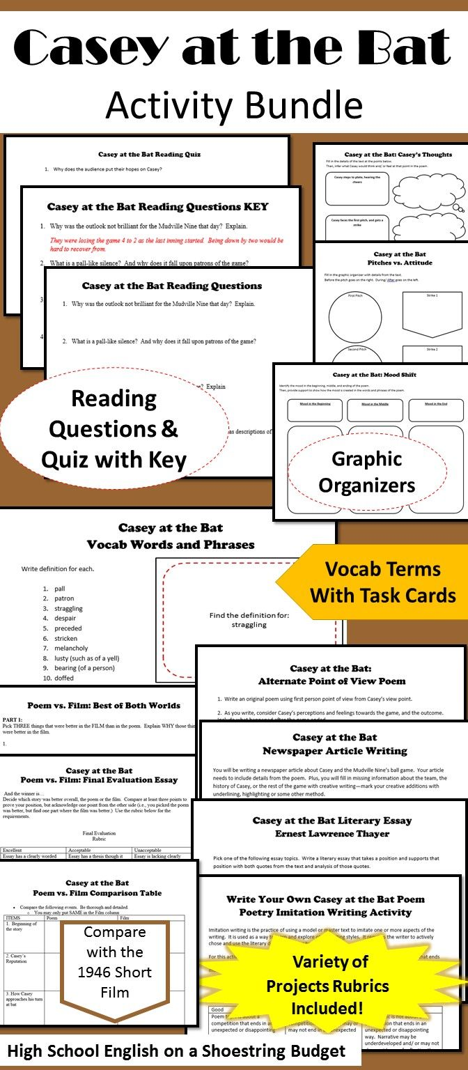 casey at the bat activity bundle e thayer pdf english activities for use reading casey at the bat reading questions to guide analysis