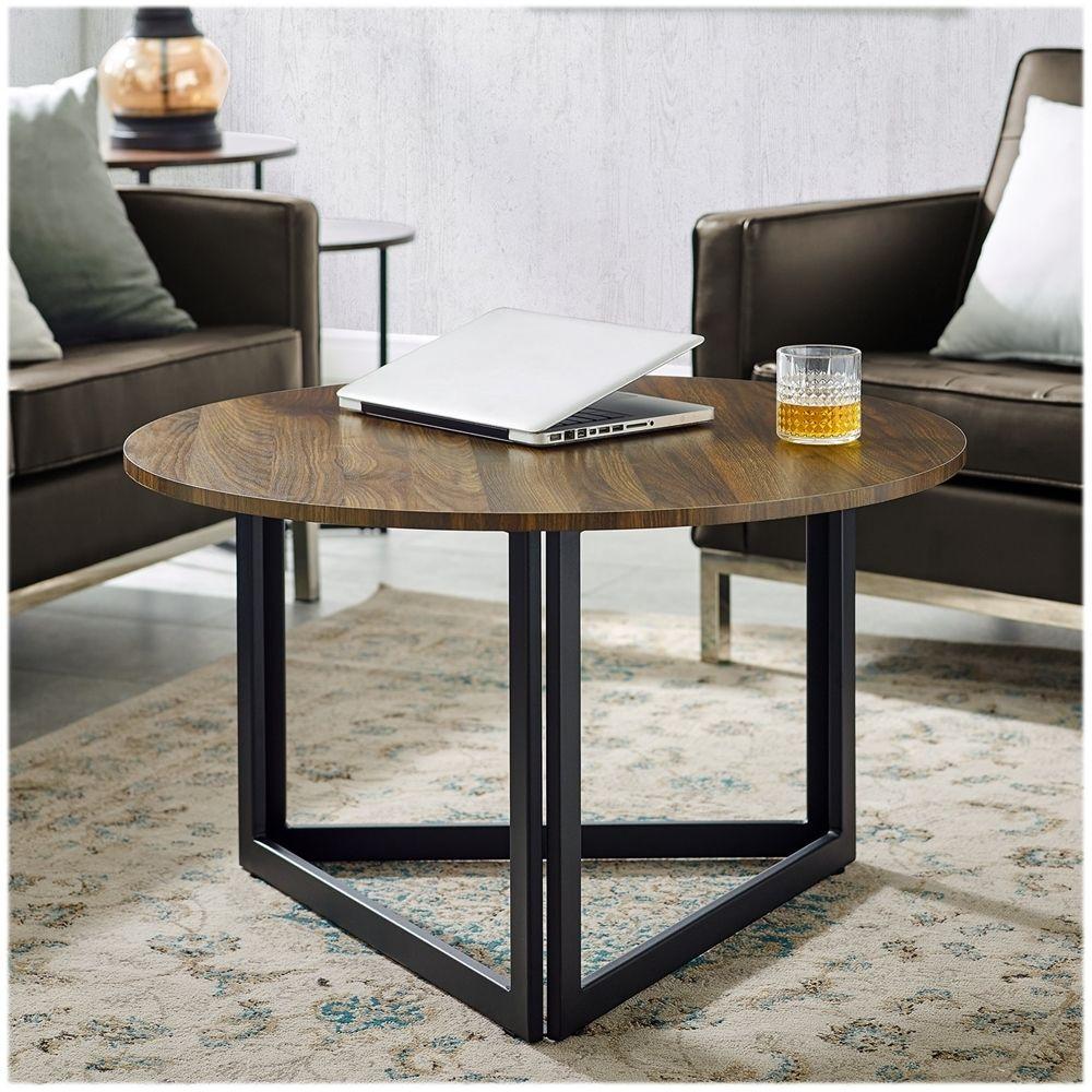 Walker Edison Round Modern High Grade Mdf Coffee Table Dark Walnut Bbf32nivctdw Best Buy In 2021 Coffee Table Metal Base Coffee Table Table [ 1000 x 1000 Pixel ]