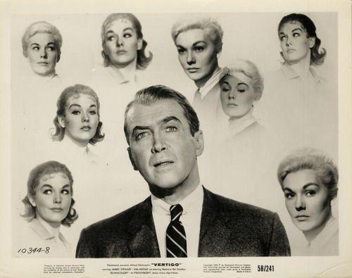 James Stewart obsessed by Kim Novak in 'Vertigo', 1958.