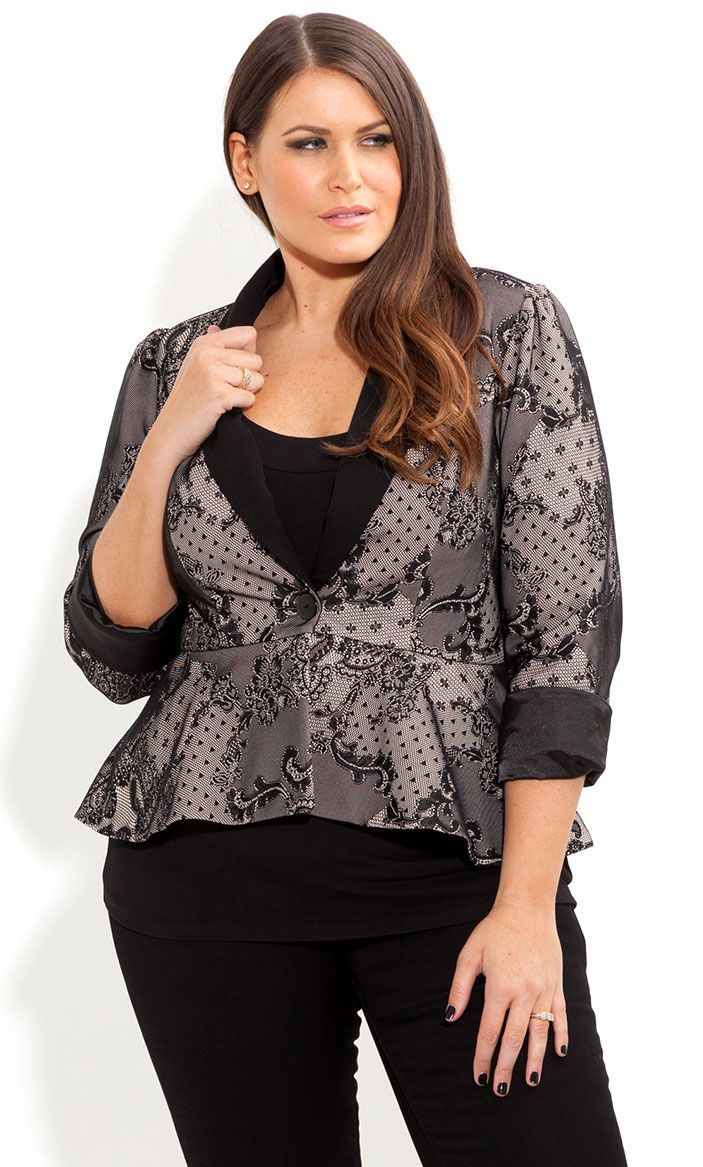 50396495ad8 City Chic- ONE BUTTON LACE JACKET - Women s plus size fashion