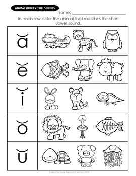 Vowels Animal Worksheets By Souly Natural Creations Tpt Animal Worksheets Animal Print Background Polar Express Lessons