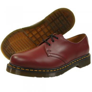 96718b77efd Doc Martens Cherry Red 3 Eyelet 1461 Mens Shoe with Contrast Yellow ...