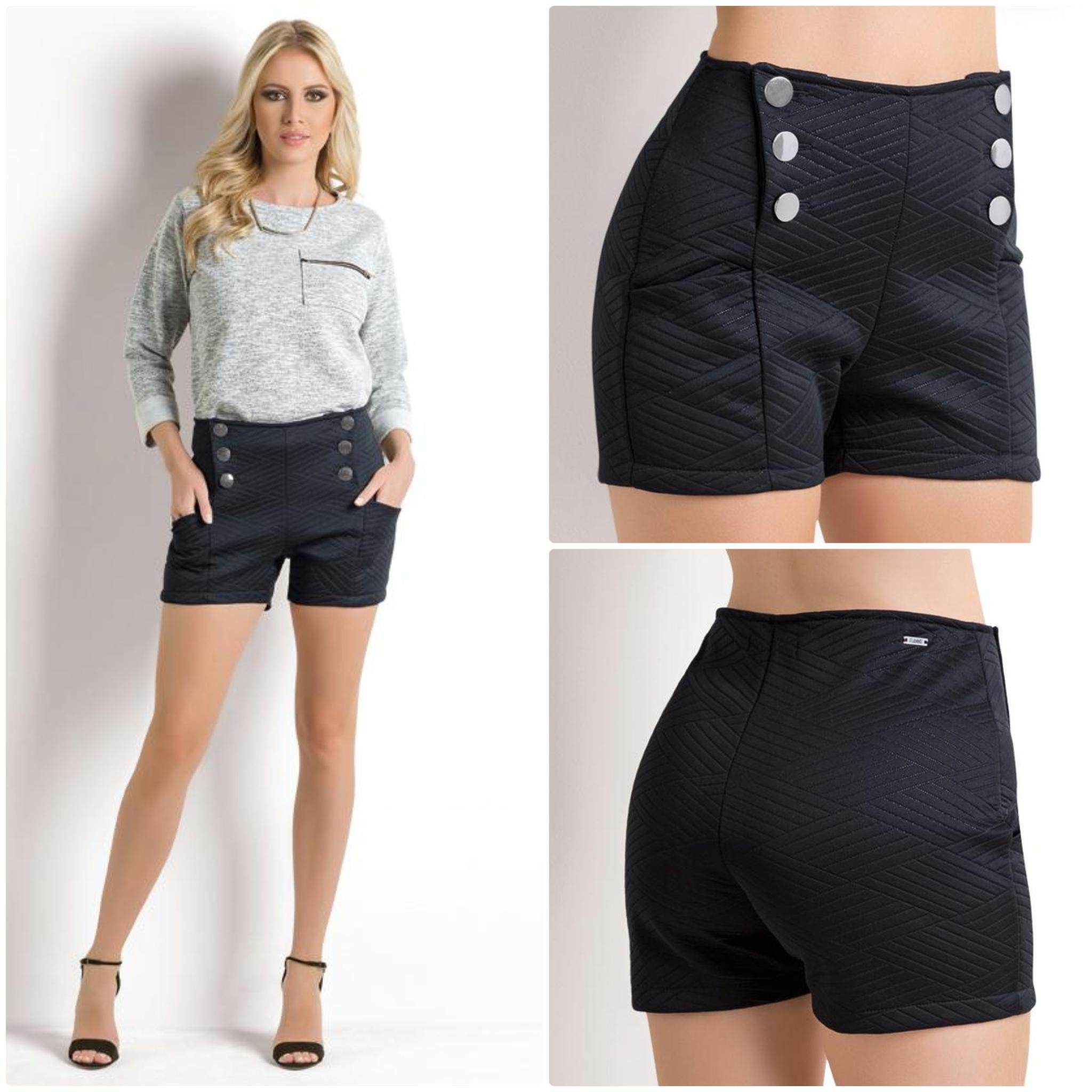 c11428186ef383 Short cintura alta com botões | Moda femenina em 2019 | Calções ...