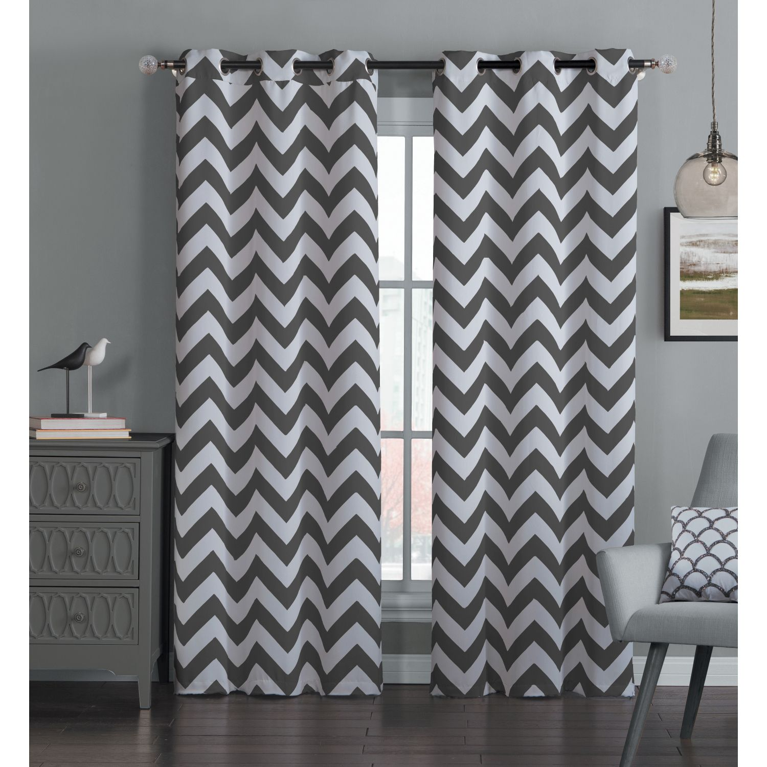 Black And White Chevron Blackout Curtains This Pair Of Blackout Curtains Blocks Out The Bright Morning Sun