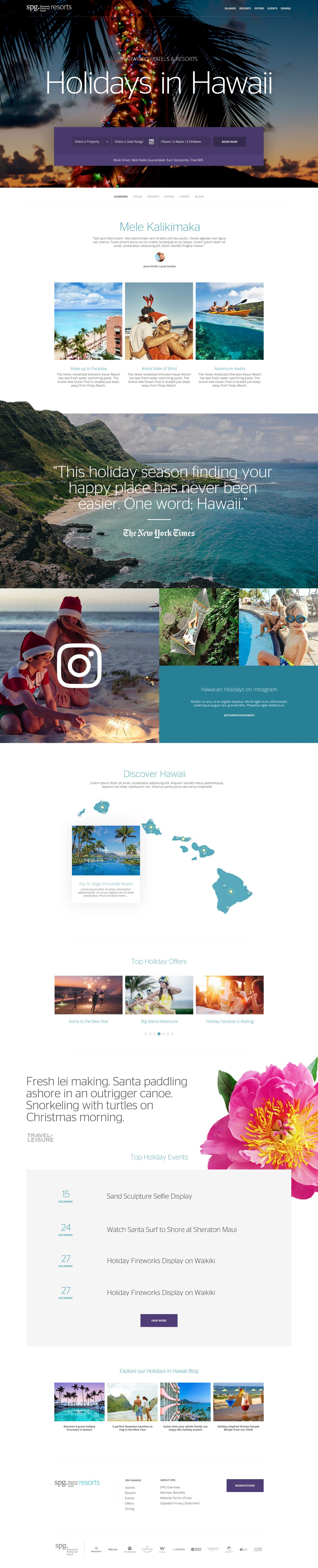 Spg Resorts Holidays In Hawaii Travel Experience Landing Page Design By Agency Dominion Travel Design Website Design Layout Site Design