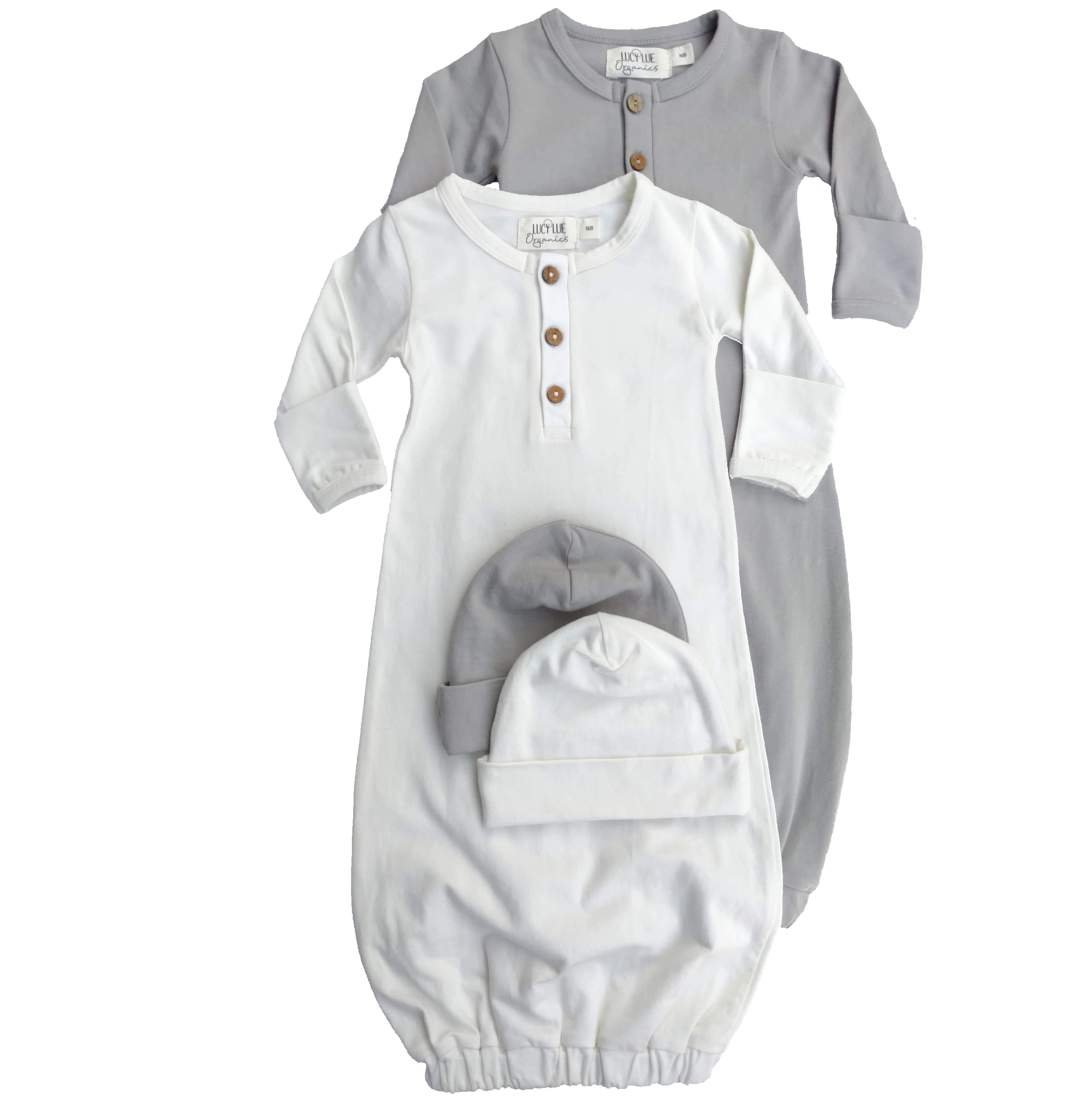 Organic Layette Bundle Baby Hat and Snuggle Gown x 2