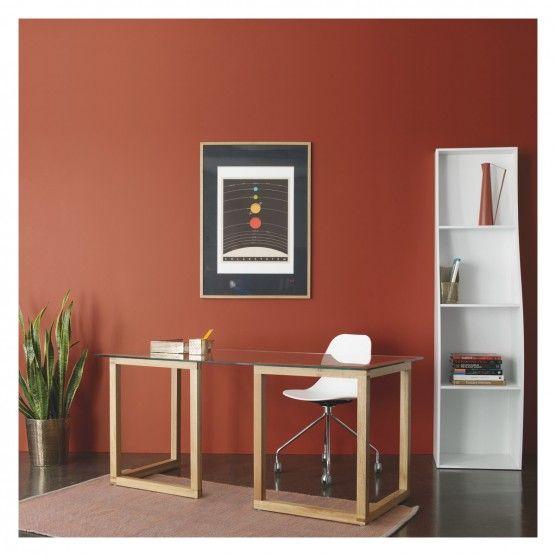KUSA Medium Glass And Oak Trestle Desk