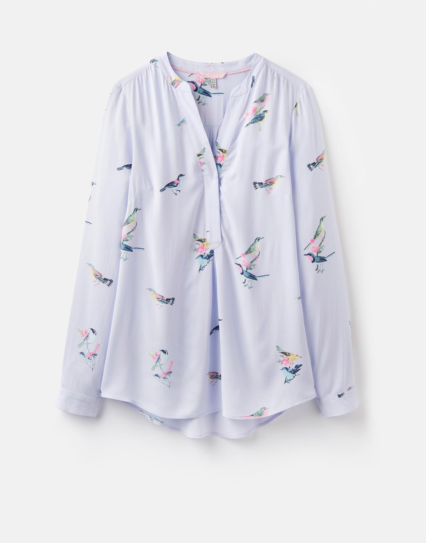 9b0606cdde8 Rosamund Blue Bird Blossom Long Sleeve Woven Blouse   Joules UK ...